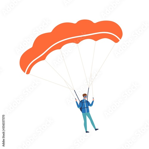 Obraz Active guy enjoying parachuting extreme sport vector flat illustration. Male skydiver practicing dangerous hobby with parachute isolated on white. Colorful parachutist with professional equipment - fototapety do salonu