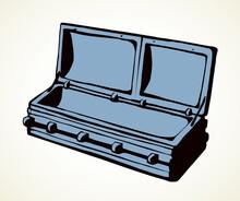 Open Wooden Coffin. Vector Dra...