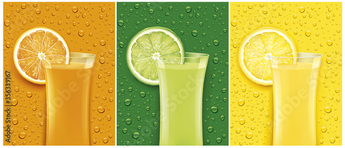 Obraz juice glass with fresh fruit slice and different color backgrounds with many  juice drops - fototapety do salonu