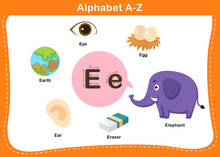 Alphabet Letter E Vector Illus...