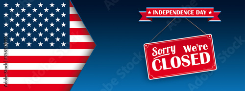 Fotomural Independence Day Closed USA Flag Header
