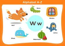 Alphabet Letter W Vector Illus...