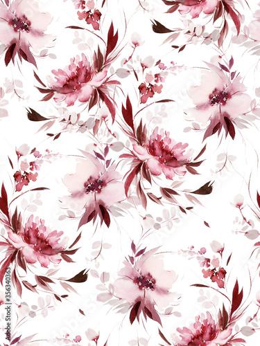 Seamless summer pattern with watercolor flowers handmade. Fototapete