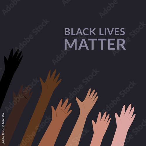 Fototapeta Row of raised hands colored from white to black with Black lives matter slogan. Anti racism and racial equality and tolerance banner. Vector illustration, social media template on dark background obraz