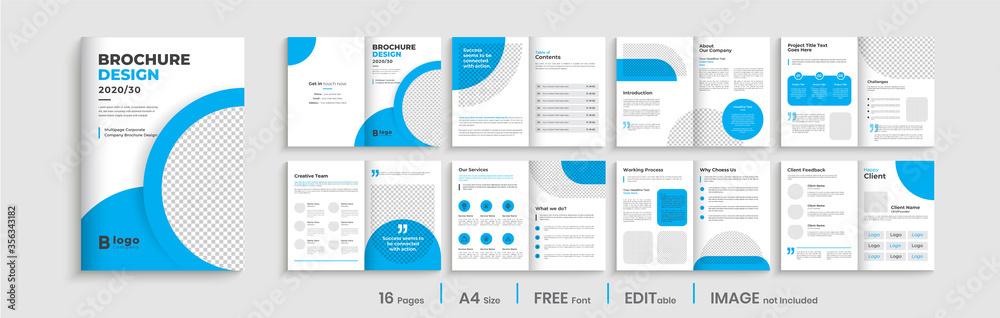 Fototapeta Minimal blue multipage business brochure template layout design, professional business profile design, 16 pages, creative business brochure design.