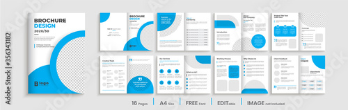 Minimal blue multipage business brochure template layout design, professional business profile design, 16 pages, creative business brochure design.