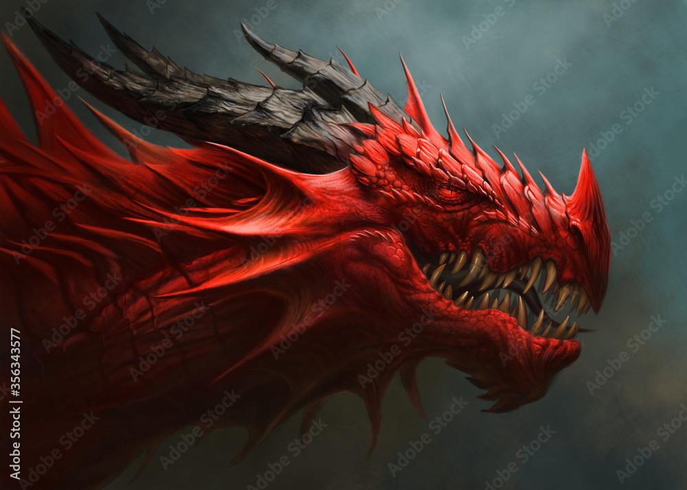 Fototapeta Red dragon head digital painting.