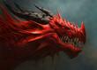 Leinwandbild Motiv Red dragon head digital painting.