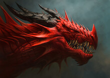 Red Dragon Head Digital Painti...
