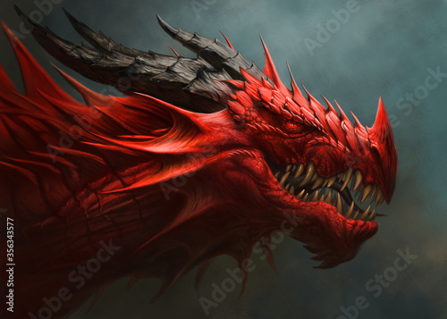 Fototapeta Red dragon head digital painting.
