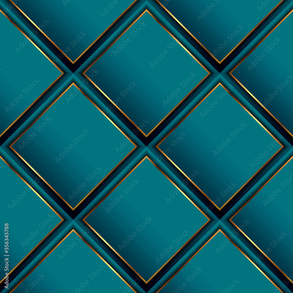 Fototapeta Waffle 3d vector seamless pattern. Geometric luxury surface background. Repeat turquoise waffled modern backdrop. Beautiful ornate abstract ornament with rhombus, gold frames, stripes. Elegant design
