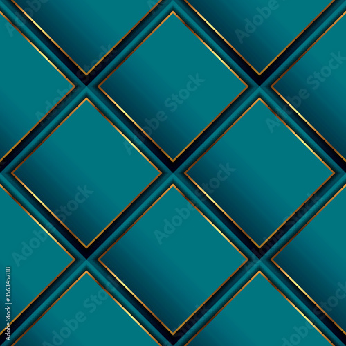Fototapeta Waffle 3d vector seamless pattern. Geometric luxury surface background. Repeat turquoise waffled modern backdrop. Beautiful ornate abstract ornament with rhombus, gold frames, stripes. Elegant design obraz