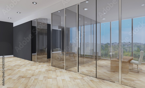 Fototapeta designer furniture in the reception. office with large windows. home style. Sunset. 3D rendering obraz
