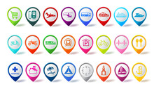 Travel Pin Icon Vector Set. Co...
