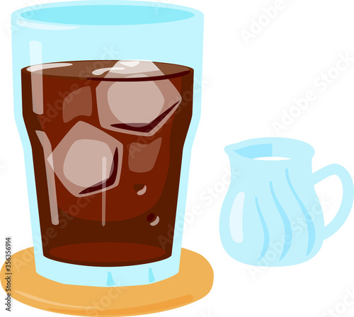 Fotografie, Obraz グラスに入ったアイスコーヒー