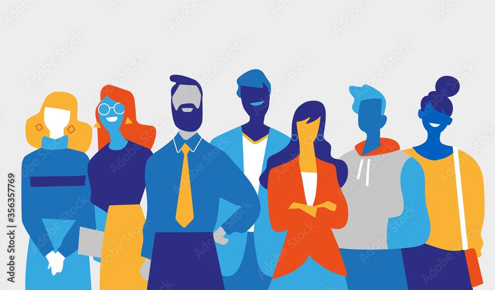 Fototapeta Squadra di professionisti di successo fatta di uomini e donne