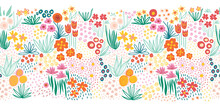 Flower Field Seamless Vector Illustration Border. A Lot Of Florals In Pink, Red, Yellow, Orange Repeating Horizontal Pattern Doodle Line Art. For Fabric Trim, Footer, Header, Wedding, Summer Decor