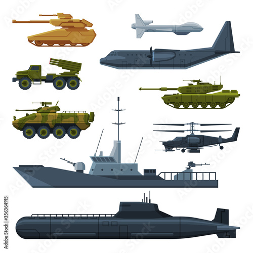 Fototapeta Armored Army Vehicles Collection, Military Heavy Special Transport Flat Vector Illustration obraz