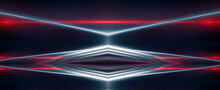Background Wall With Neon Lines And Rays. Background Dark Corridor With Neon Light. Abstract Background With Lines And Glow. Light Element In The Center, A Triangle, A Pyramid With Neon.