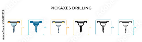 Papel de parede Pickaxes drilling vector icon in 6 different modern styles