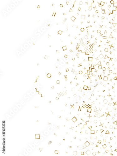 Photo Memphis style geometric confetti vector background of triangle circle square shapes, chevron wavy lines