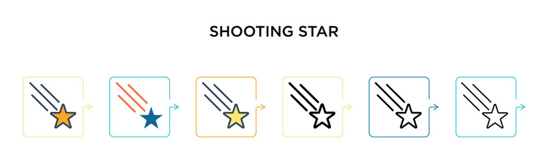 Shooting star vector icon in 6 different modern styles. Black, two colored shooting star icons designed in filled, outline, line and stroke style. Vector illustration can be used for web, mobile, ui