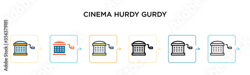 Cinema hurdy gurdy vector icon in 6 different modern styles Wallpaper Mural