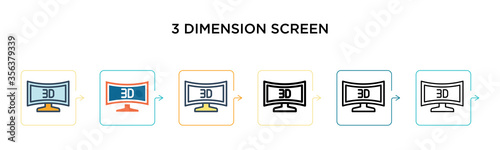 3 dimension screen vector icon in 6 different modern styles Wallpaper Mural
