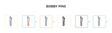 Bobby Pins Vector Icon In 6 Di...