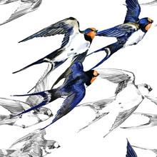 Swift Bird Seamless Pattern. S...
