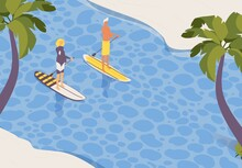 Vector Outdoor Landscape With Two People On Stand Up Paddle Boards. Sup Surfers Isometric Concept Scenery With Sea And Palm Trees