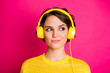 Leinwandbild Motiv Close-up portrait of her she nice attractive lovely cute charming cheery girl listening podcast playlist modern track isolated on bright vivid shine vibrant pink fuchsia color background