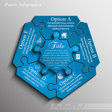 Blue Pentagon Puzzle Presentation Infographic Template With Five Explanatory Text Field For Business Statistics
