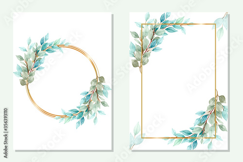 Obraz na plátne multipurpose golden frame with green leaves in watercolor style