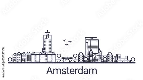 Fototapeta Linear banner of Amsterdam city
