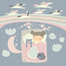 Little Girl Sleeping With Teddy Bear Under The Stars,rainbow And Moon