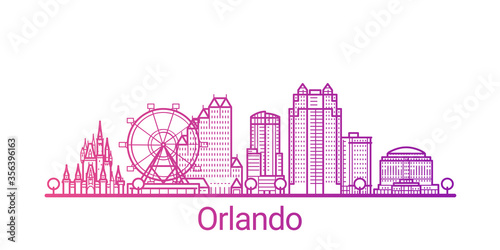 Valokuvatapetti Orlando city colored gradient line