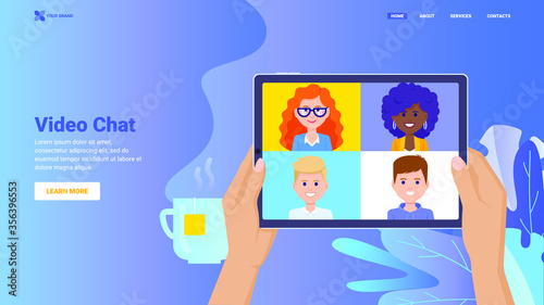 Online video chat concept for website, landing page, banner, print. Remote communication, video conference with multiple people using application on tablet. Video call hero vector flat image.
