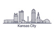 Linear banner of Kansas city. All buildings - customizable different objects with clipping mask, so you can change background and composition. Line art.
