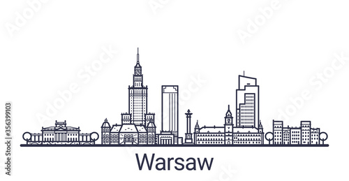 Fotografie, Obraz Linear banner of Warsaw city