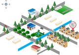 Fototapeta Miasto - vector illustration of a city map