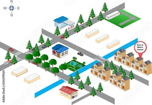 Obraz vector illustration of a city map - fototapety do salonu