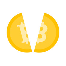 Bitcoin Halving. Cracked Bitcoin. Block Rewards Is Reduced In 2 Times