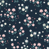Cute hand drawn flower meadow seamless pattern, lovely spring or summer background, great for textiles, banners, wallpapers, wrapping - vector design - 356400547