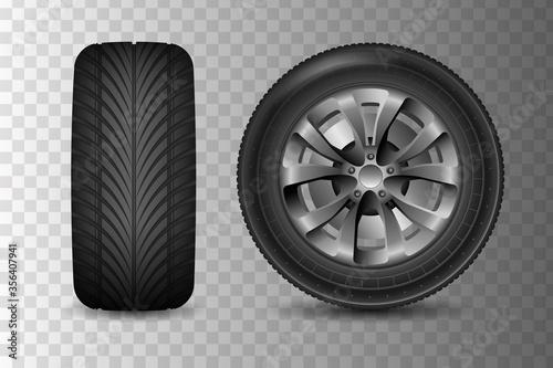 Obraz na plátně Car wheel with brake gear