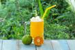 glass of fresh orange juice smoothie