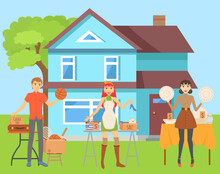 Garage Sale Vector, Man And Wo...