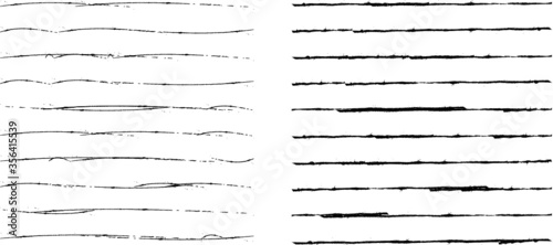 Fototapeta Brush Stroke Collection . Grunge lines . Vector stripes . Distressed Black dividers . set of dirty Textured shape .scratches for your design. obraz