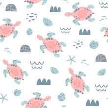 Pink Sea Turtle Seamless Patte...