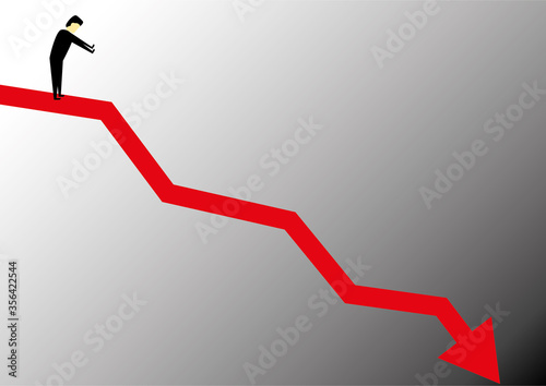 Person at the top of a falling chart line looking down Canvas Print